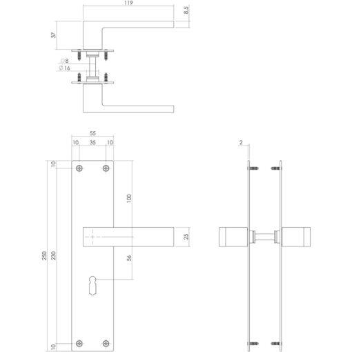Intersteel deurklink Amsterdam op schild sleutelgat 56 mm INOX geborsteld - Technische tekening