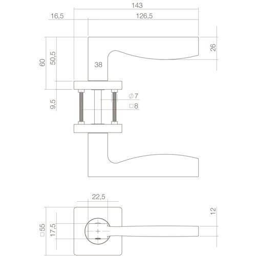 Intersteel deurklink Apollo op vierkant rozet mat zwart - Technische tekening