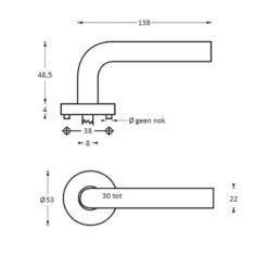 Intersteel deurklink Arjan Moors Sliced No.2 met rozet INOX gepolijst - Technische tekening