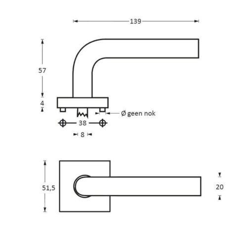 Intersteel deurklink Arjan Moors Sliced No.3 met rozet INOX geborsteld-zwart - Technische tekening