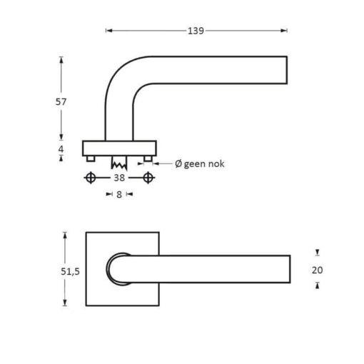 Intersteel deurklink Arjan Moors Sliced No.3 met rozet INOX gepolijst-zwart - Technische tekening