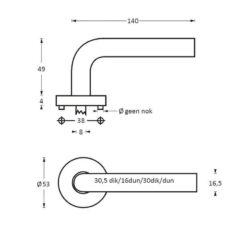 Intersteel deurklink Arjan Moors Sliced No.4 met rozet INOX geborsteld - Technische tekening
