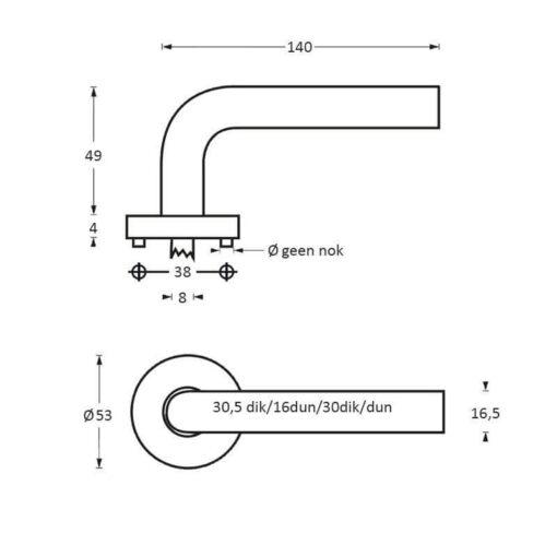 Intersteel deurklink Arjan Moors Sliced No.4 met rozet INOX gepolijst-zwart - Technische tekening