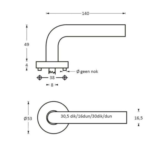 Intersteel deurklink Arjan Moors Sliced No.4 met rozet INOX gepolijst - Technische tekening