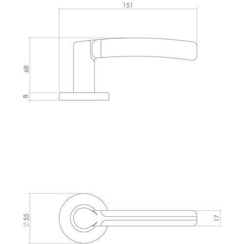 Intersteel deurklink Bas Konig Elegant Fusion op rozet INOX gepolijst - Technische tekening