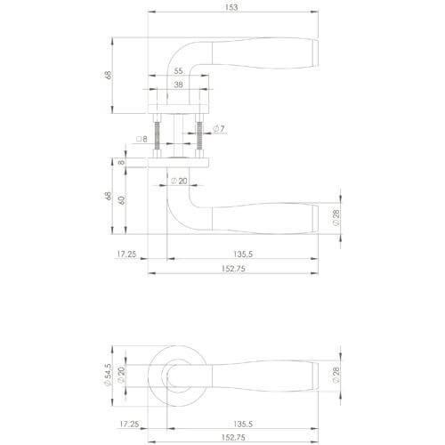Intersteel deurklink Bas Konig Solid Fusion op rozet INOX gepolijst - Technische tekening