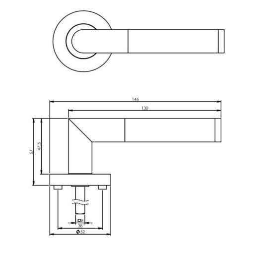 Intersteel deurklink Bastian op rozet chroom - Technische tekening