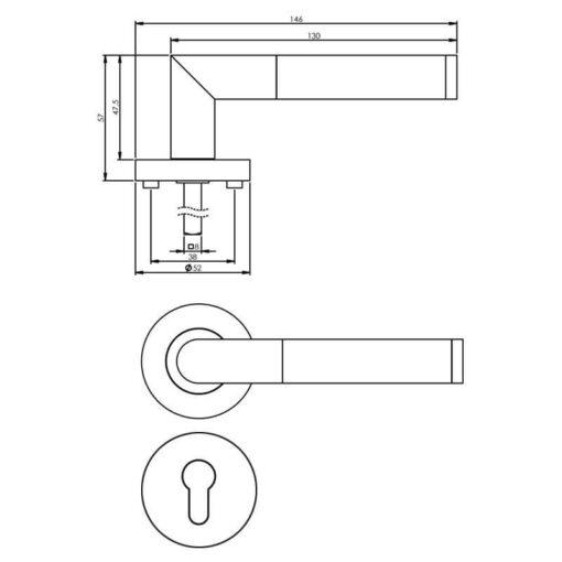 Intersteel deurklink Bastian op rozet profielcilindergat chroom - Technische tekening