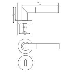 Intersteel deurklink Bastian op rozet sleutelgat chroom - Technische tekening