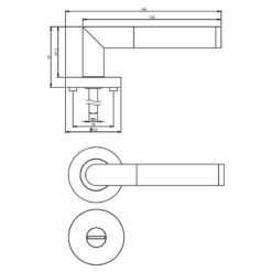 Intersteel deurklink Bastian op rozet toilet-/badkamersluiting chroom - Technische tekening