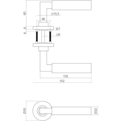 Intersteel deurklink Bau-Stil op rozet INOX geborsteld - Technische tekening
