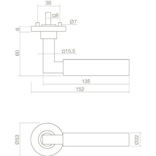 Intersteel deurklink Bau-Stil op rozet chroom/mat zwart - Technische tekening