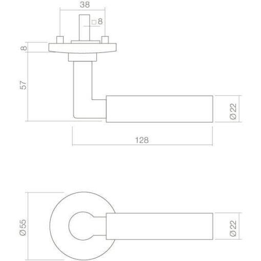 Intersteel deurklink Bau-Stil op rozet nikkel mat - Technische tekening