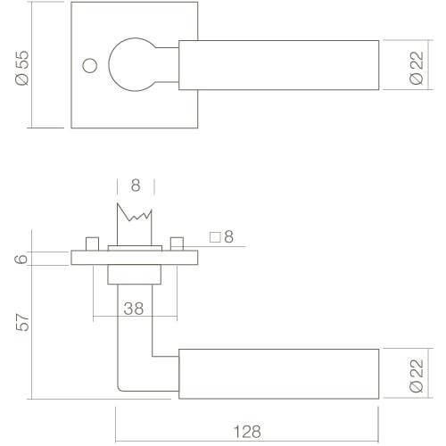Intersteel deurklink Bau-Stil op vierkant rozet chroom - Technische tekening