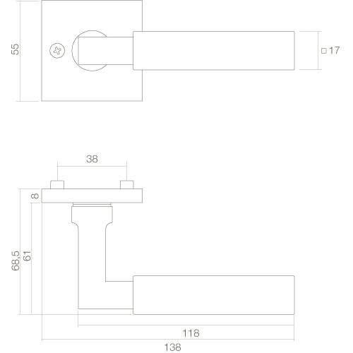 Intersteel deurklink Bau-Stil op vierkant rozet nikkel - Technische tekening