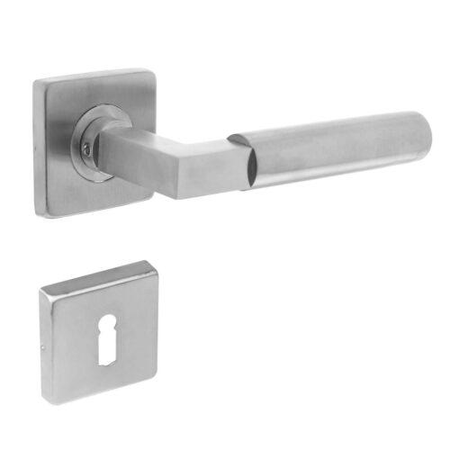 Intersteel deurklink Bau-Stil op vierkant rozet sleutelgat INOX geborsteld