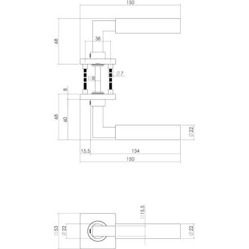 Intersteel deurklink Bau-Stil op vierkant rozet sleutelgat INOX geborsteld - Technische tekening