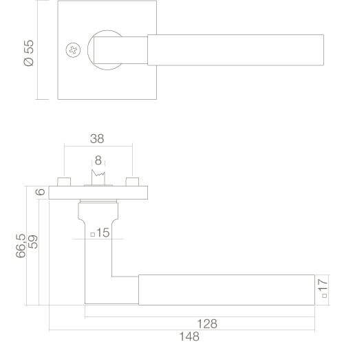 Intersteel deurklink Bau-Stil vierkant op vierkant rozet chroom - Technische tekening