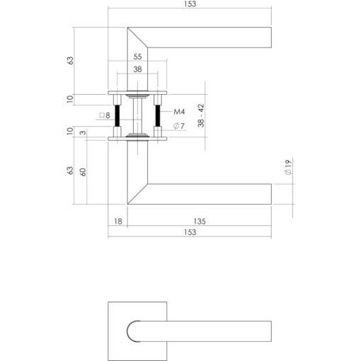 Intersteel deurklink Bau-stil op vierkant magneet rozet INOX geborsteld - Technische tekening
