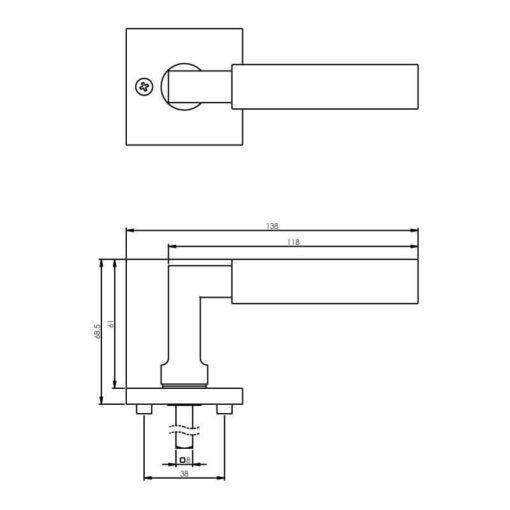 Intersteel deurklink Bau-stil op vierkant rozet chroom mat/mat zwart - Technische tekening