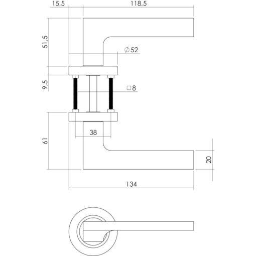 Intersteel deurklink Ben op rozet sleutelgat nikkel mat - Technische tekening