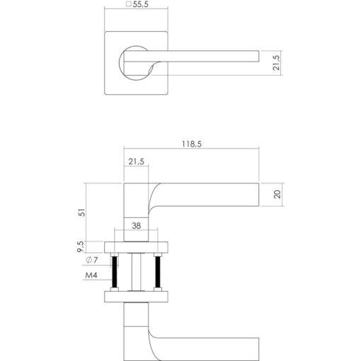 Intersteel deurklink Ben op vierkant rozet nikkel mat - Technische tekening