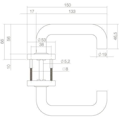 Intersteel deurklink Bern op rozet mat zwart - Technische tekening