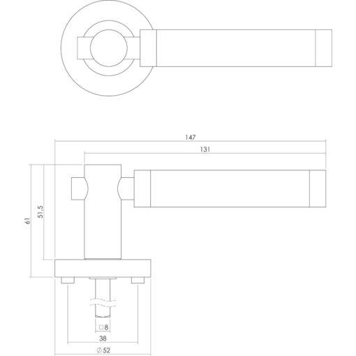 Intersteel deurklink Birgit op rozet sleutelgat chroom - Technische tekening