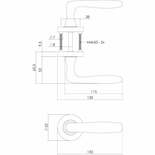 Intersteel deurklink Bjorn op rozet nikkel mat - Technische tekening