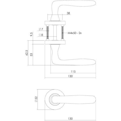 Intersteel deurklink Bjorn op rozet profielcilindergat nikkel mat - Technische tekening