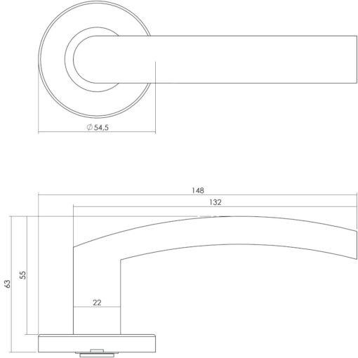 Intersteel deurklink Blok INOX op rozet EN1906/4 INOX geborsteld - Technische tekening