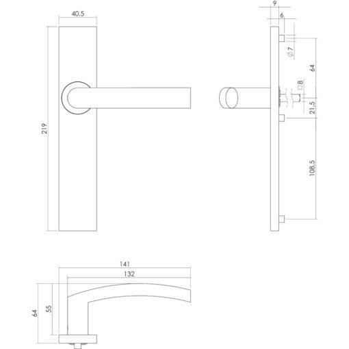 Intersteel deurklink Blok op rechthoekig schild blind INOX geborsteld - Technische tekening
