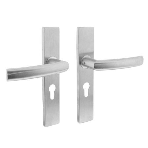Intersteel deurklink Blok op rechthoekig schild profielcilindergat 55 mm INOX geborsteld