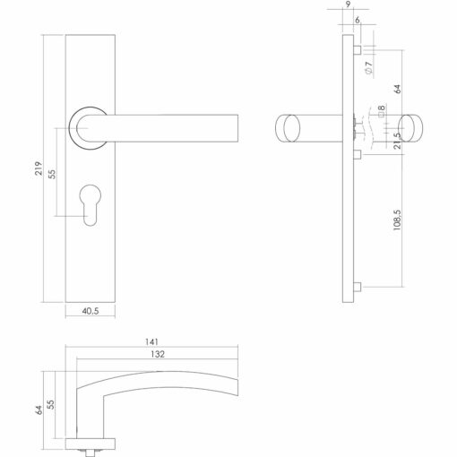 Intersteel deurklink Blok op rechthoekig schild profielcilindergat 55 mm INOX geborsteld - Technische tekening