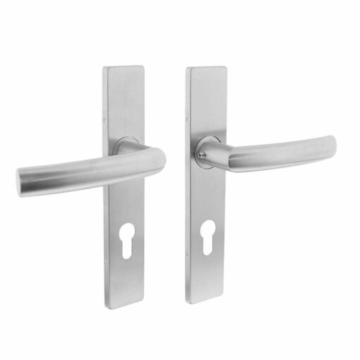 Intersteel deurklink Blok op rechthoekig schild profielcilindergat 72 mm INOX geborsteld