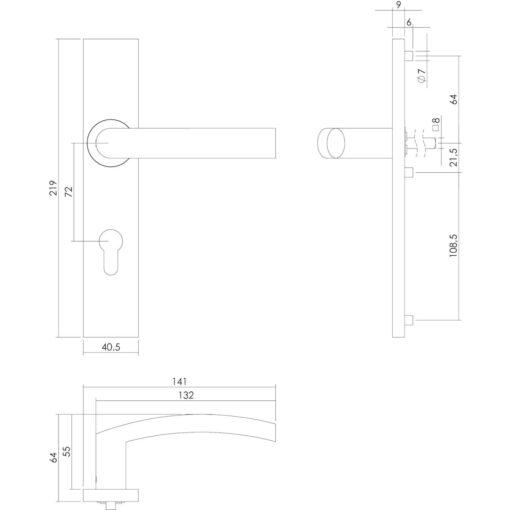 Intersteel deurklink Blok op rechthoekig schild profielcilindergat 72 mm INOX geborsteld - Technische tekening