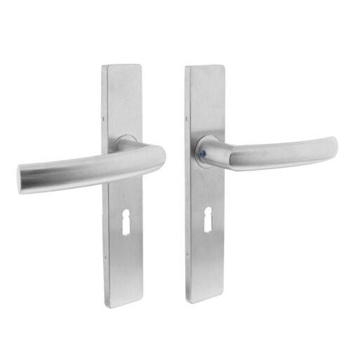 Intersteel deurklink Blok op rechthoekig schild sleutelgat 56 mm INOX geborsteld