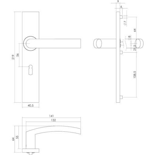 Intersteel deurklink Blok op rechthoekig schild sleutelgat 56 mm INOX geborsteld - Technische tekening