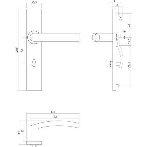 Intersteel deurklink Blok op rechthoekig schild toilet-/badkamersluiting 72 mm INOX geborsteld - Technische tekening