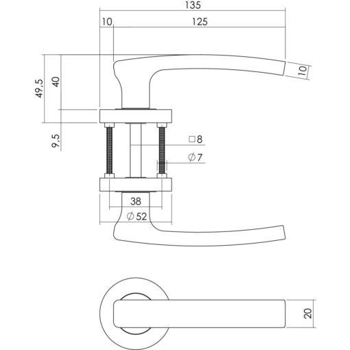 Intersteel deurklink Blok op rozet toilet-/badkamersluiting chroom - Technische tekening