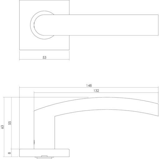 Intersteel deurklink Blok op vierkant rozet sleutelgat INOX geborsteld - Technische tekening