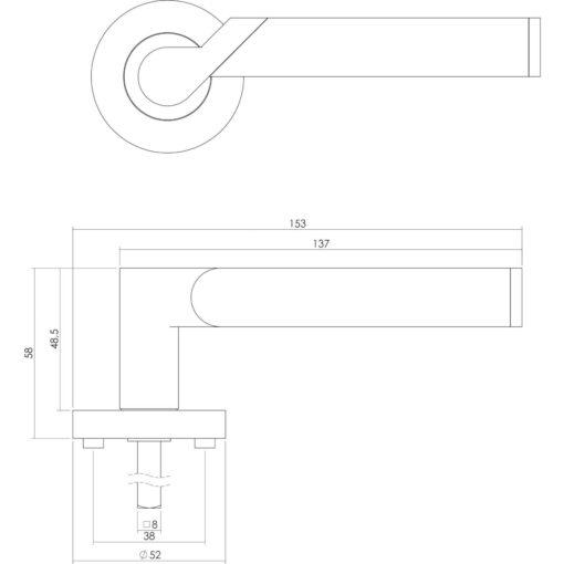 Intersteel deurklink Casper op rozet sleutelgat chroom - Technische tekening