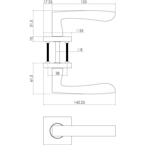 Intersteel deurklink Dean op vierkant rozet toilet-/badkamersluiting nikkel mat - Technische tekening