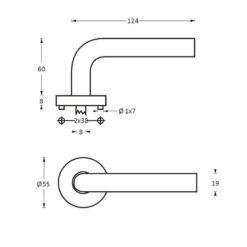Intersteel deurklink Duimgreep op rozet INOX geborsteld - Technische tekening