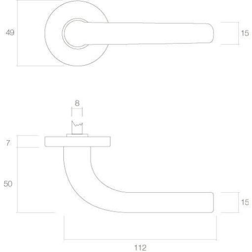 Intersteel deurklink Elena op rozet nikkel mat - Technische tekening