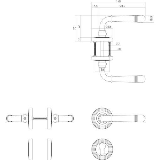 Intersteel deurklink Emily op rozet profielcilindergat chroom - Technische tekening
