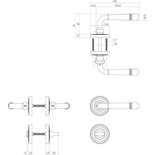 Intersteel deurklink Emily op rozet toilet-/badkamersluiting chroom - Technische tekening