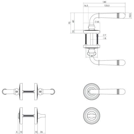 Intersteel deurklink Emily op rozet toilet-/badkamersluiting nikkel mat - Technische tekening