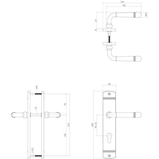 Intersteel deurklink Emily op schild profielcilindergat 72 mm Koper gelakt - Technische tekening