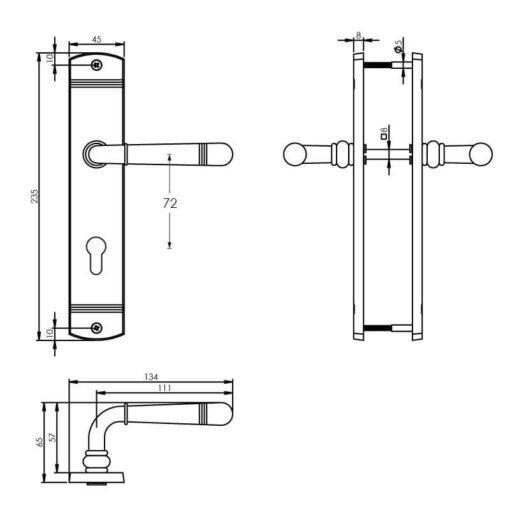 Intersteel deurklink Emily op schild profielcilindergat 72 mm nikkel mat - Technische tekening